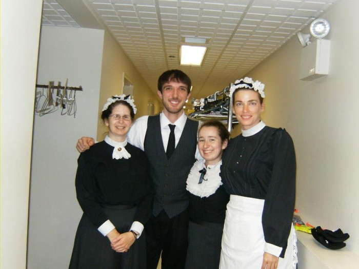 Hound of the Baskervilles backstage crew - myself, Sean Gray, Stella Schwartz, Diane Healy in costume.