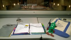 "Stage Management Still Life - A photo I took of my calling station with the okra mascot of Delta State University in Cleveland, MS when we went there for the tour for Montana Rep's ""The Great Gatsby""."