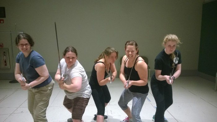 Stage Management Fight Club Summer 2015 at S&Co - In picture are myself, Tracy Hoida, Kathleen Soltan, Laura Gomez, and Jessica Kemp. Kathleen, Laura, and Jessica returned this summer and worked on the Playhouse shows. Jessica was the one underneath the trap for Or, helping to making sure Allyn wouldn't bump his head!